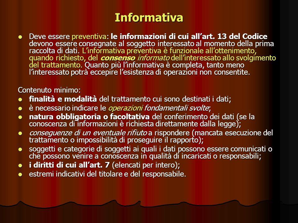 Informativa Deve essere preventiva: le informazioni di cui allart. 13 del Codice devono essere consegnate al soggetto interessato al momento della pri