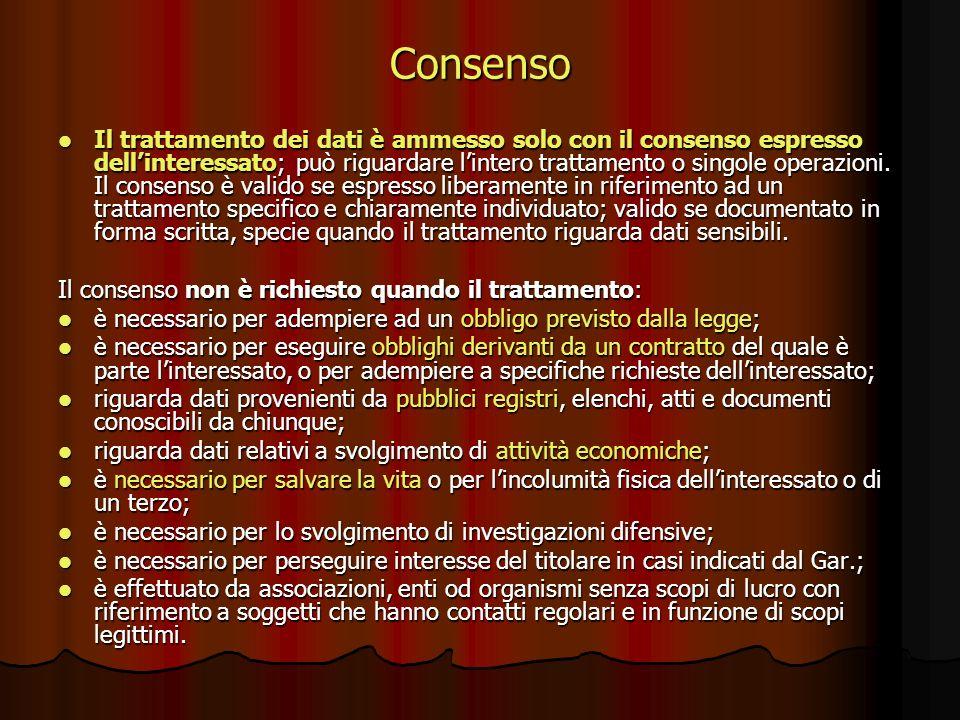 Consenso Il trattamento dei dati è ammesso solo con il consenso espresso dellinteressato; può riguardare lintero trattamento o singole operazioni. Il