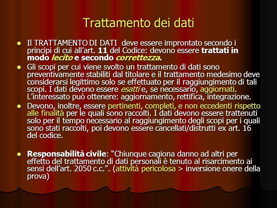 Trattamento dei dati Il TRATTAMENTO DI DATI deve essere improntato secondo i principi di cui allart. 11 del Codice: devono essere trattati in modo lec