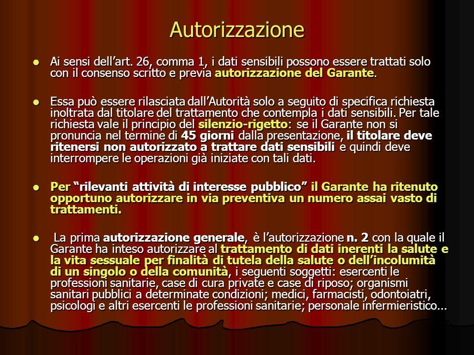Autorizzazione Ai sensi dellart. 26, comma 1, i dati sensibili possono essere trattati solo con il consenso scritto e previa autorizzazione del Garant