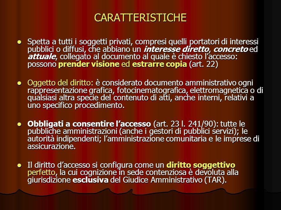 CARATTERISTICHE Spetta a tutti i soggetti privati, compresi quelli portatori di interessi pubblici o diffusi, che abbiano un interesse diretto, concre
