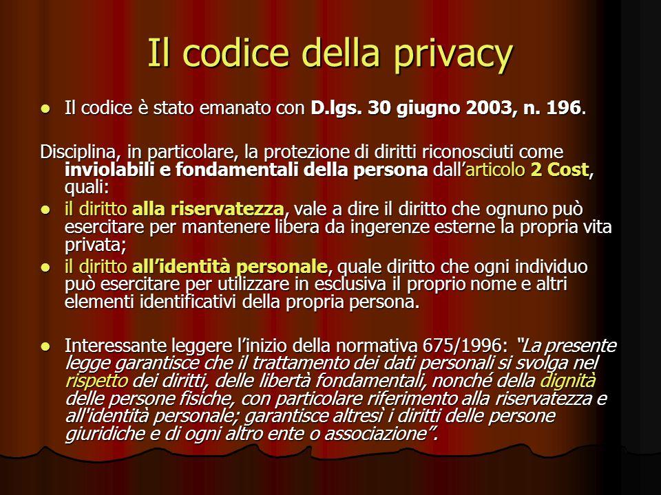 Il codice della privacy Il codice è stato emanato con D.lgs. 30 giugno 2003, n. 196. Il codice è stato emanato con D.lgs. 30 giugno 2003, n. 196. Disc