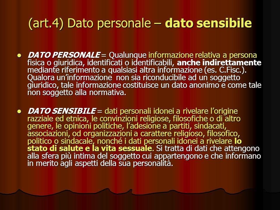 (art.4) Dato personale – dato sensibile DATO PERSONALE = Qualunque informazione relativa a persona fisica o giuridica, identificati o identificabili,