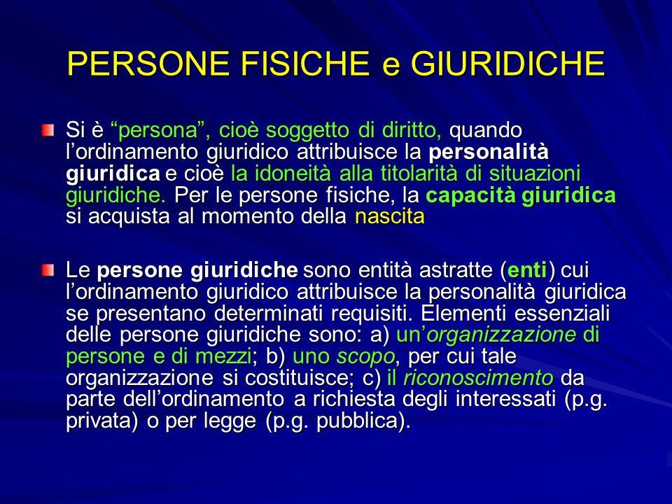 PERSONE FISICHE e GIURIDICHE Si è persona, cioè soggetto di diritto, quando lordinamento giuridico attribuisce la personalità giuridica e cioè la idon