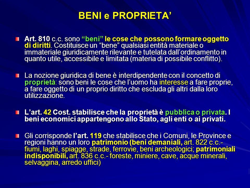 BENI e PROPRIETA Art. 810 c.c. sono beni le cose che possono formare oggetto di diritti. Costituisce un bene qualsiasi entità materiale o immateriale