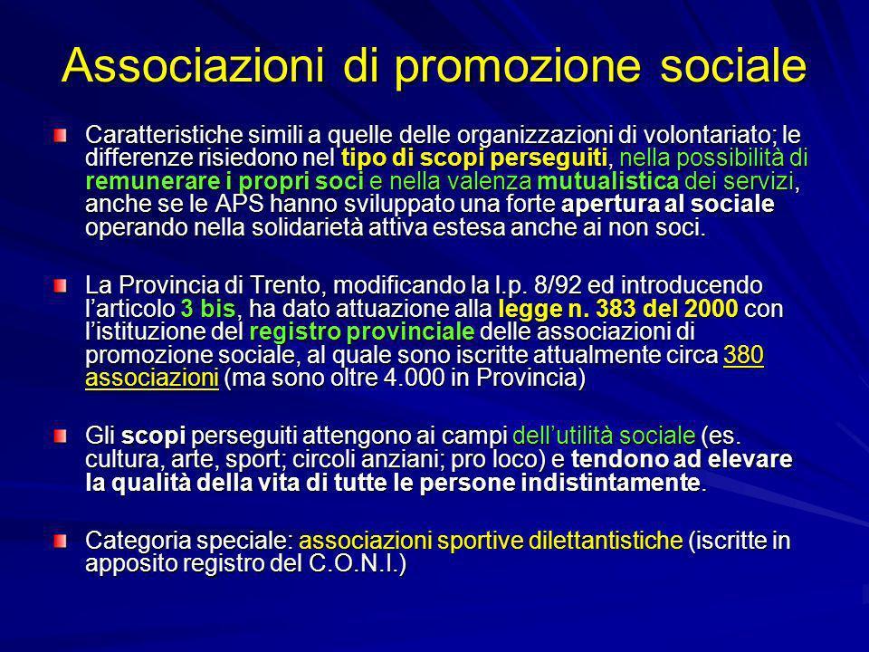 Associazioni di promozione sociale Caratteristiche simili a quelle delle organizzazioni di volontariato; le differenze risiedono nel tipo di scopi per