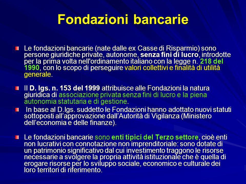 Fondazioni bancarie Le fondazioni bancarie (nate dalle ex Casse di Risparmio) sono persone giuridiche private, autonome, senza fini di lucro, introdot