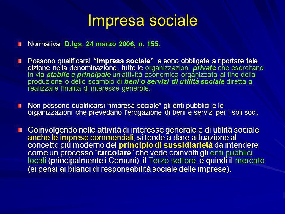 Impresa sociale Normativa: D.lgs. 24 marzo 2006, n. 155. Possono qualificarsi Impresa sociale, e sono obbligate a riportare tale dizione nella denomin