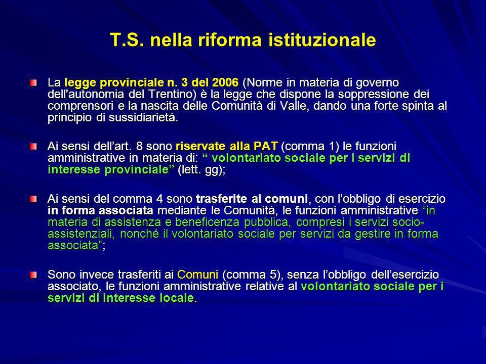 T.S. nella riforma istituzionale La legge provinciale n. 3 del 2006 (Norme in materia di governo dell'autonomia del Trentino) è la legge che dispone l