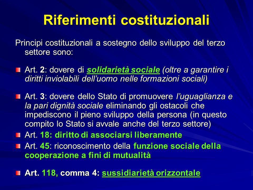 Riferimenti costituzionali Principi costituzionali a sostegno dello sviluppo del terzo settore sono: Art. 2: dovere di solidarietà sociale (oltre a ga