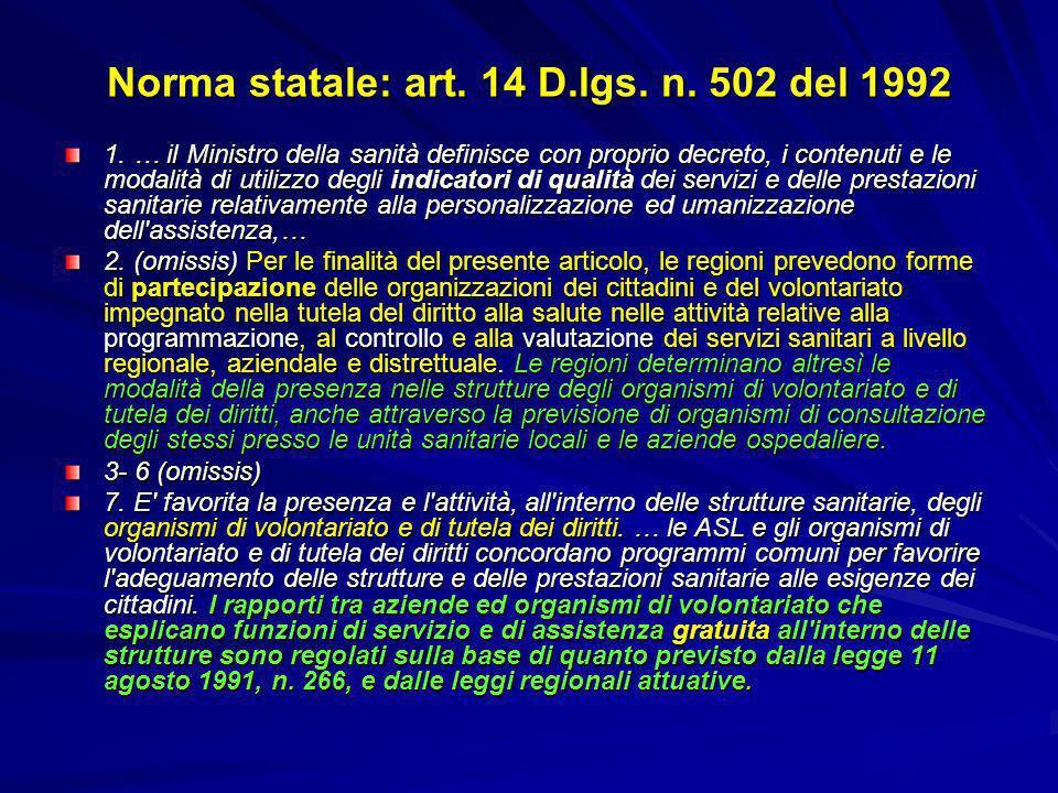 Norma statale: art. 14 D.lgs. n. 502 del 1992 1. … il Ministro della sanità definisce con proprio decreto, i contenuti e le modalità di utilizzo degli