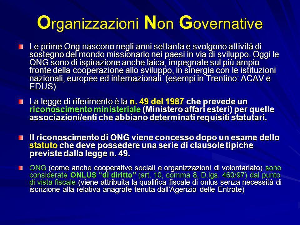 O rganizzazioni N on G overnative Le prime Ong nascono negli anni settanta e svolgono attività di sostegno del mondo missionario nei paesi in via di s