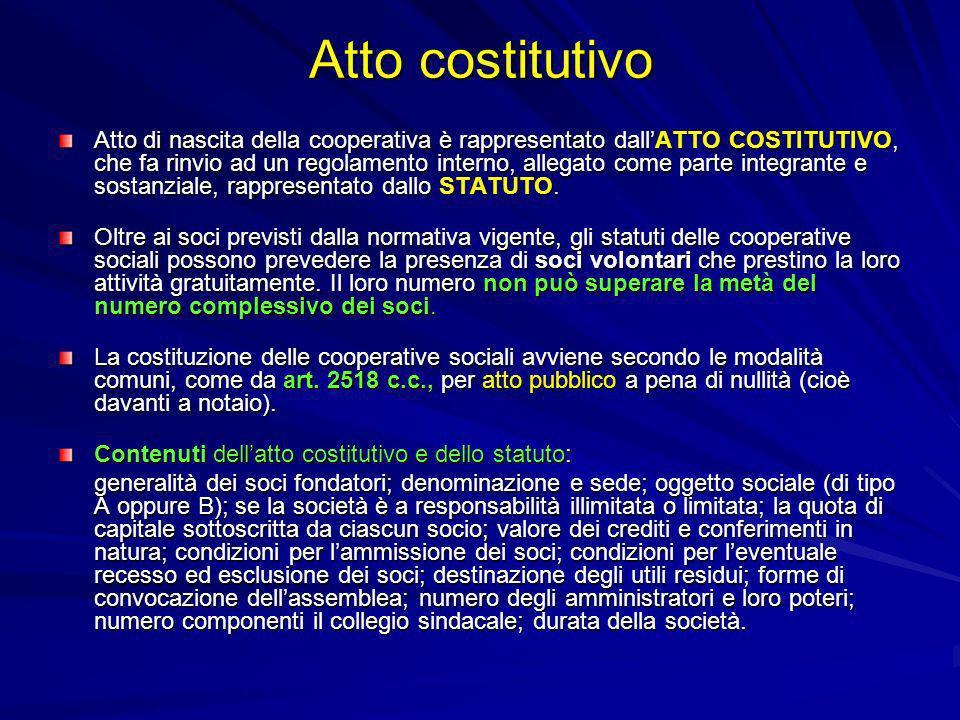 Atto costitutivo Atto di nascita della cooperativa è rappresentato dallATTO COSTITUTIVO, che fa rinvio ad un regolamento interno, allegato come parte
