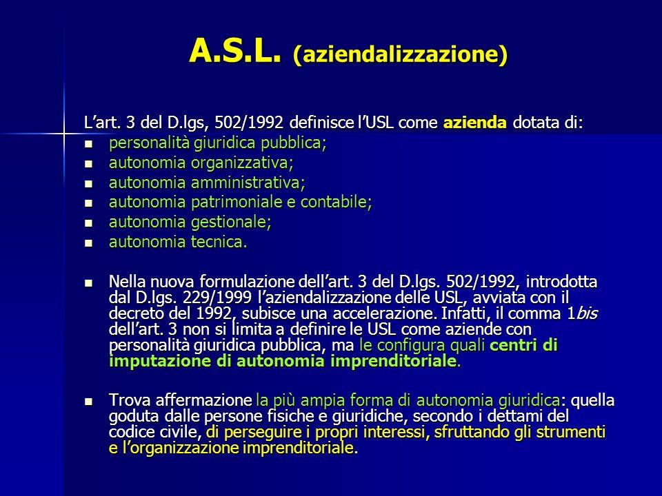 A.S.L.(aziendalizzazione) Lart.