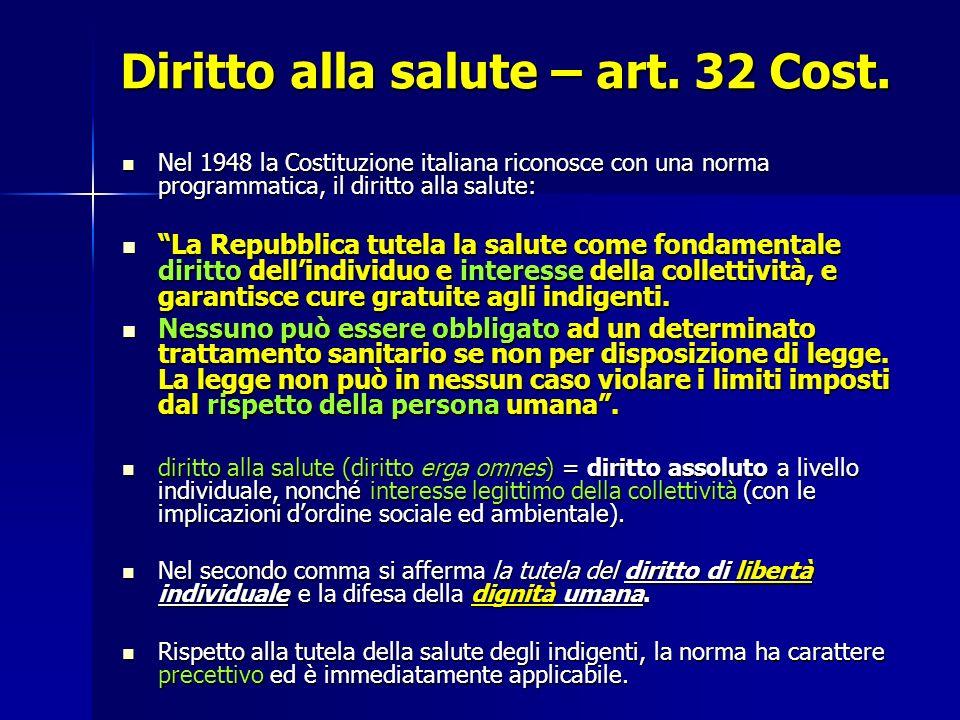 Diritto alla salute – art.32 Cost.