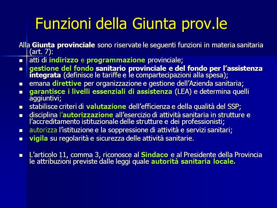 Funzioni della Giunta prov.le Alla Giunta provinciale sono riservate le seguenti funzioni in materia sanitaria (art.