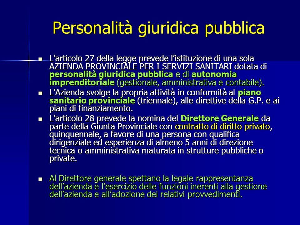 Personalità giuridica pubblica Larticolo 27 della legge prevede listituzione di una sola AZIENDA PROVINCIALE PER I SERVIZI SANITARI dotata di personalità giuridica pubblica e di autonomia imprenditoriale (gestionale, amministrativa e contabile).