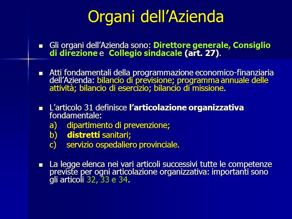 Organi dellAzienda Gli organi dellAzienda sono: Direttore generale, Consiglio di direzione e Collegio sindacale (art.