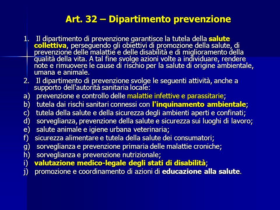Art.32 – Dipartimento prevenzione 1.