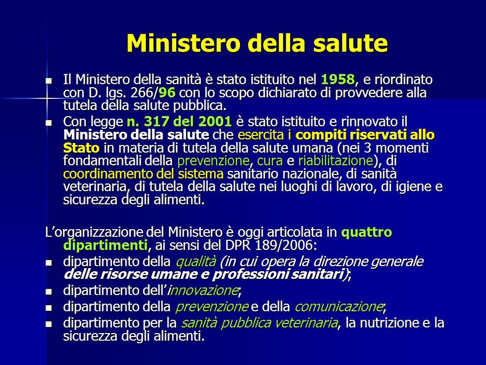 Ministero della salute Il Ministero della sanità è stato istituito nel 1958, e riordinato con D.