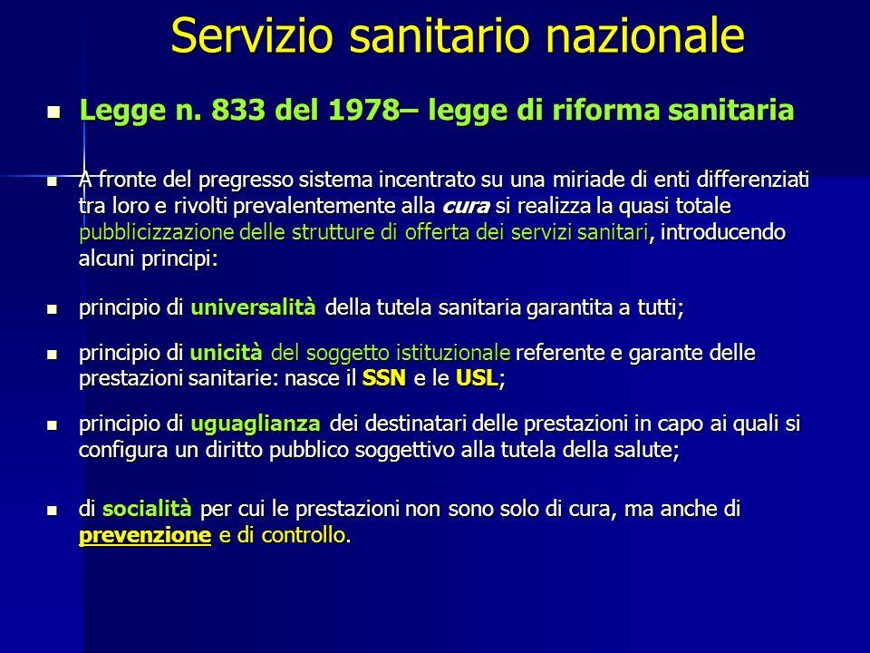 Servizio sanitario nazionale Legge n.833 del 1978– legge di riforma sanitaria Legge n.