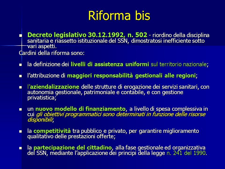 Riforma bis Decreto legislativo 30.12.1992, n.