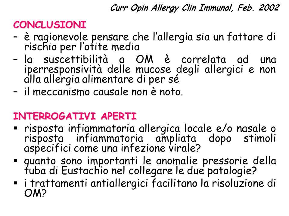 Curr Opin Allergy Clin Immunol, Feb. 2002CONCLUSIONI –è ragionevole pensare che lallergia sia un fattore di rischio per lotite media –la suscettibilit