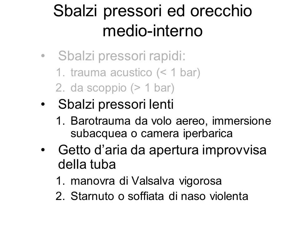 Sbalzi pressori ed orecchio medio-interno Sbalzi pressori rapidi: 1.trauma acustico (< 1 bar) 2.da scoppio (> 1 bar) Sbalzi pressori lenti 1.Barotraum