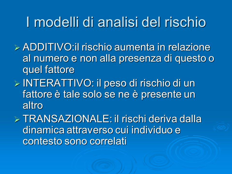 I modelli di analisi del rischio ADDITIVO:il rischio aumenta in relazione al numero e non alla presenza di questo o quel fattore ADDITIVO:il rischio a