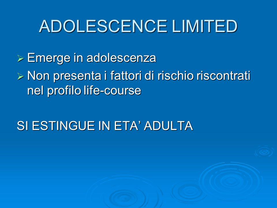 ADOLESCENCE LIMITED Emerge in adolescenza Emerge in adolescenza Non presenta i fattori di rischio riscontrati nel profilo life-course Non presenta i f