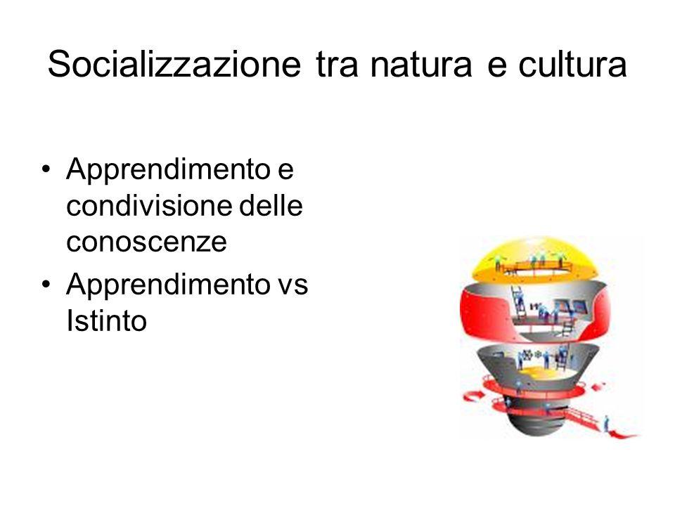 Socializzazione tra natura e cultura Apprendimento e condivisione delle conoscenze Apprendimento vs Istinto