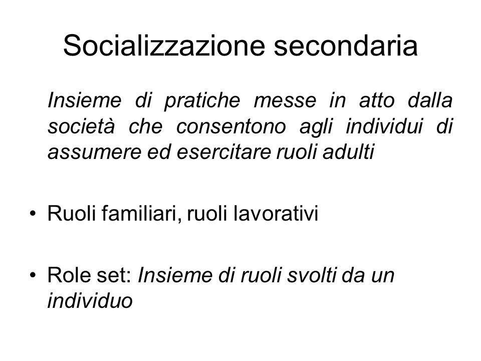 Socializzazione secondaria Insieme di pratiche messe in atto dalla società che consentono agli individui di assumere ed esercitare ruoli adulti Ruoli