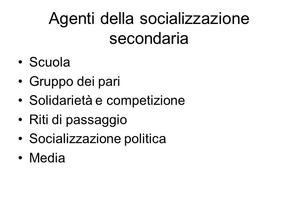 Agenti della socializzazione secondaria Scuola Gruppo dei pari Solidarietà e competizione Riti di passaggio Socializzazione politica Media
