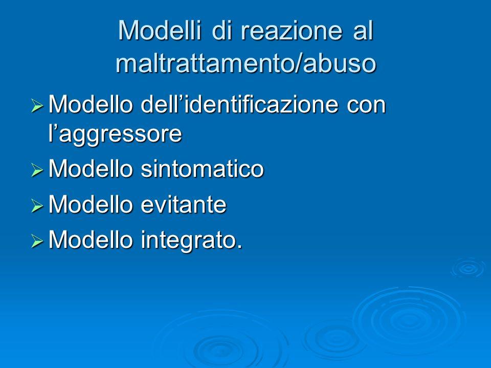 Modelli di reazione al maltrattamento/abuso Modello dellidentificazione con laggressore Modello dellidentificazione con laggressore Modello sintomatic