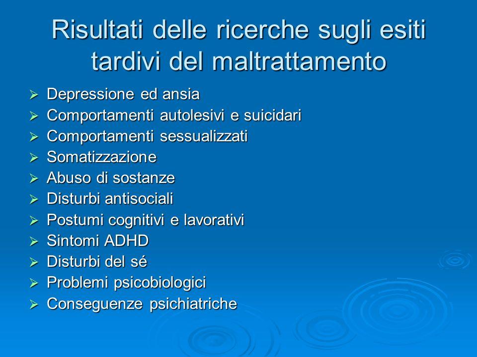 Risultati delle ricerche sugli esiti tardivi del maltrattamento Depressione ed ansia Depressione ed ansia Comportamenti autolesivi e suicidari Comport