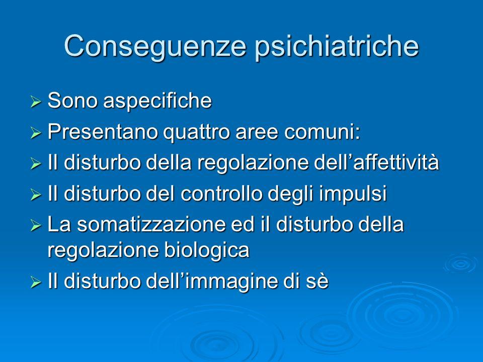 Conseguenze psichiatriche Sono aspecifiche Sono aspecifiche Presentano quattro aree comuni: Presentano quattro aree comuni: Il disturbo della regolazi