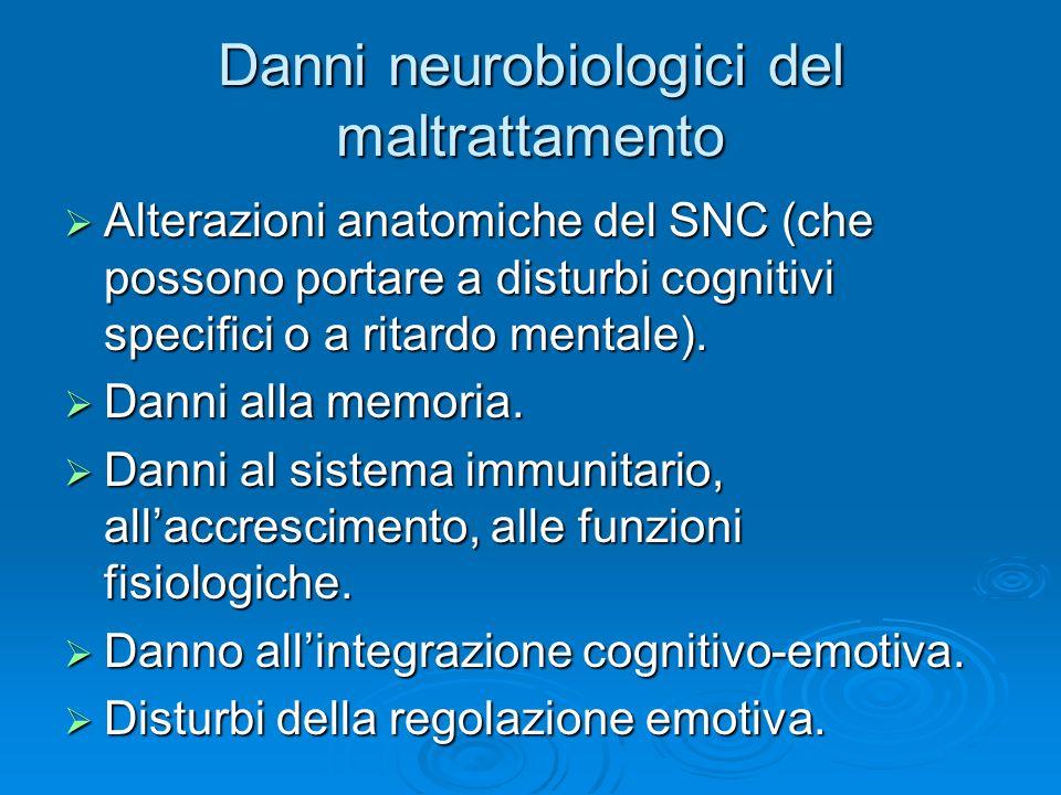 Danni neurobiologici del maltrattamento Alterazioni anatomiche del SNC (che possono portare a disturbi cognitivi specifici o a ritardo mentale). Alter