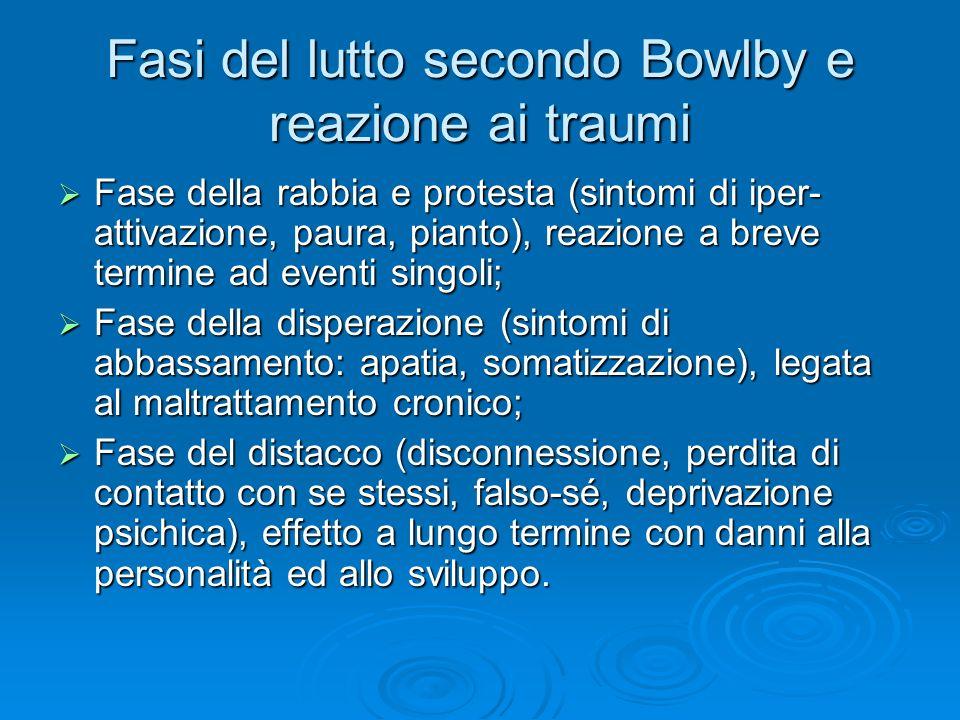 Fasi del lutto secondo Bowlby e reazione ai traumi Fase della rabbia e protesta (sintomi di iper- attivazione, paura, pianto), reazione a breve termin