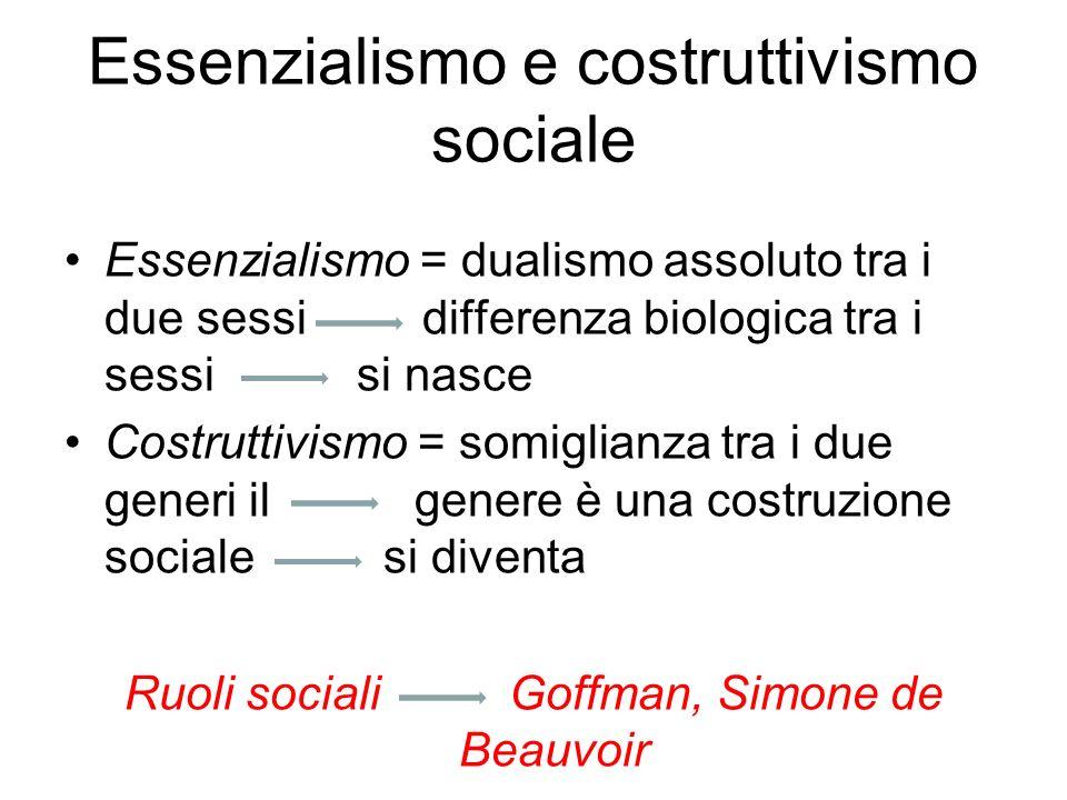 Essenzialismo e costruttivismo sociale Differenze ormonali Il cervello Ovuli e spermatozoi Lessenzialismo femminista