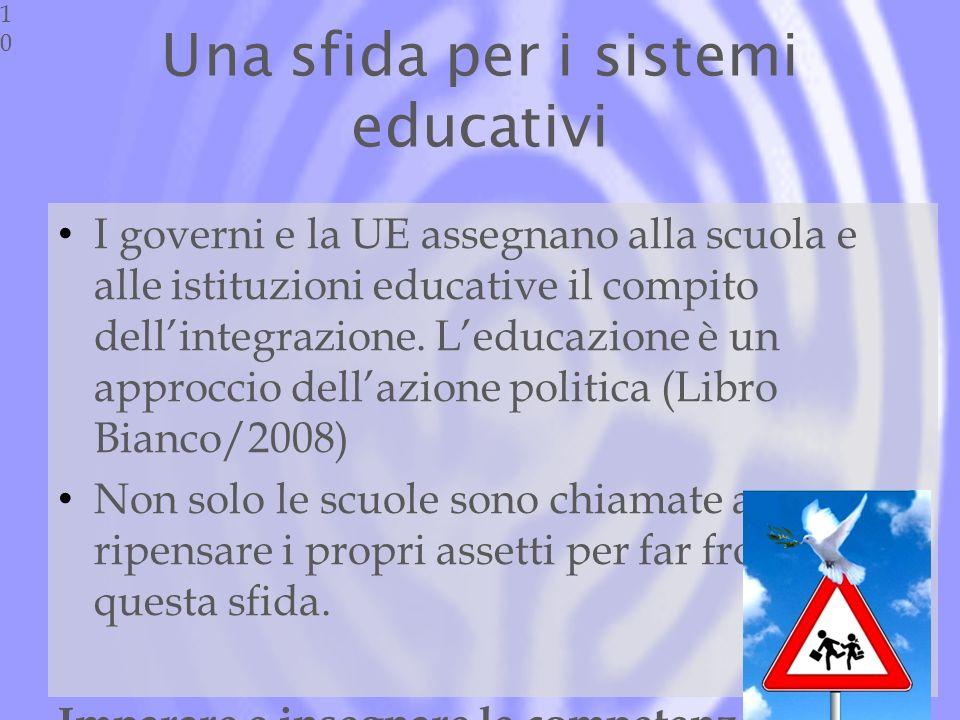 Una sfida per i sistemi educativi I governi e la UE assegnano alla scuola e alle istituzioni educative il compito dellintegrazione.