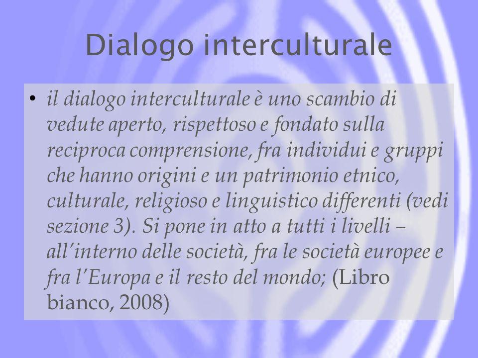 Dialogo interculturale il dialogo interculturale è uno scambio di vedute aperto, rispettoso e fondato sulla reciproca comprensione, fra individui e gruppi che hanno origini e un patrimonio etnico, culturale, religioso e linguistico differenti (vedi sezione 3).