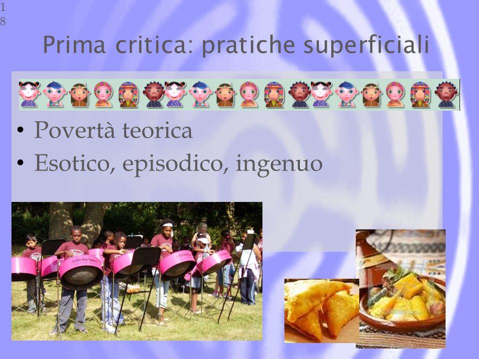 Prima critica: pratiche superficiali Povertà teorica Esotico, episodico, ingenuo18