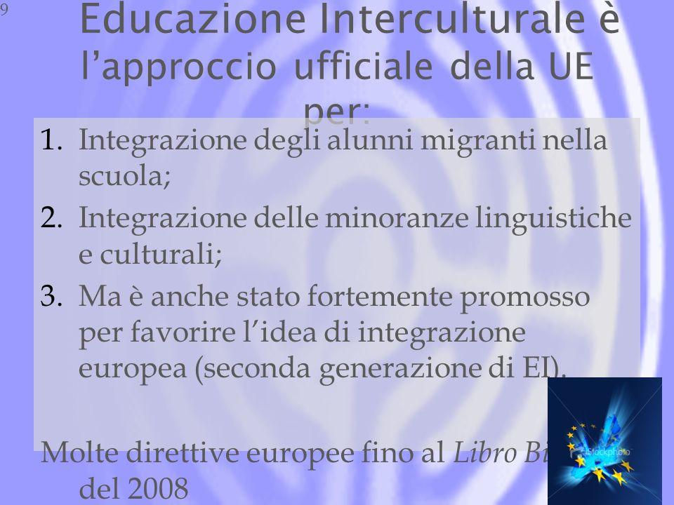 Educazione Interculturale è lapproccio ufficiale della UE per: 1.Integrazione degli alunni migranti nella scuola; 2.Integrazione delle minoranze linguistiche e culturali; 3.Ma è anche stato fortemente promosso per favorire lidea di integrazione europea (seconda generazione di EI).