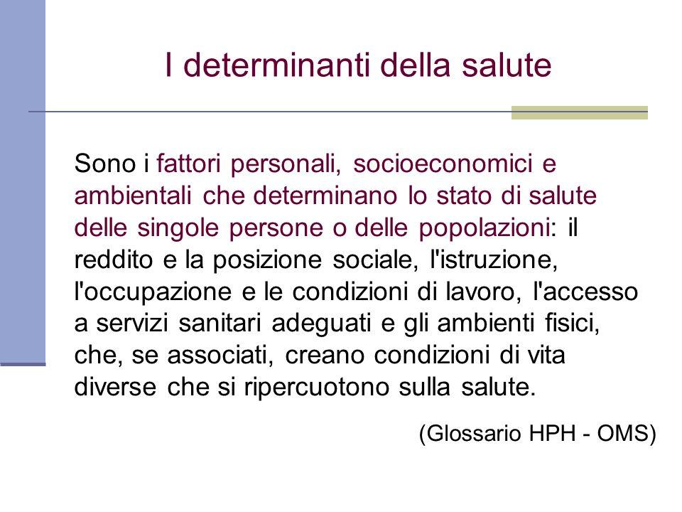 Sono i fattori personali, socioeconomici e ambientali che determinano lo stato di salute delle singole persone o delle popolazioni: il reddito e la po