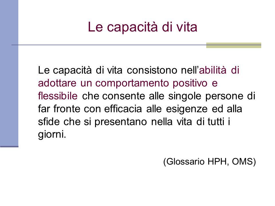 Le capacità di vita Le capacità di vita consistono nellabilità di adottare un comportamento positivo e flessibile che consente alle singole persone di