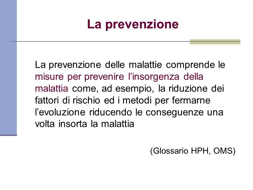 La prevenzione La prevenzione delle malattie comprende le misure per prevenire linsorgenza della malattia come, ad esempio, la riduzione dei fattori d
