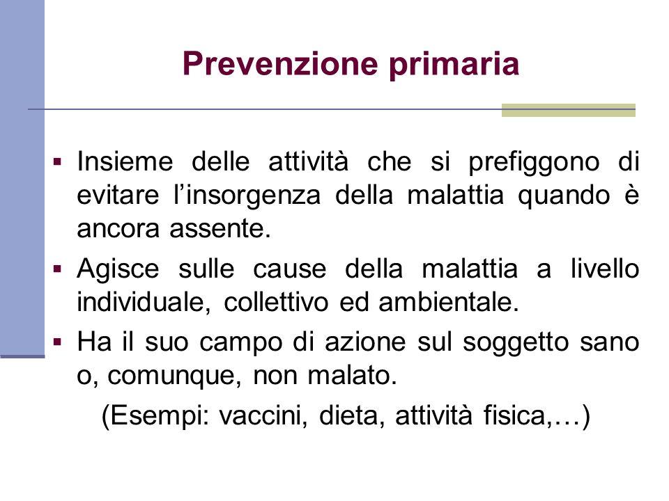 Prevenzione primaria Insieme delle attività che si prefiggono di evitare linsorgenza della malattia quando è ancora assente. Agisce sulle cause della