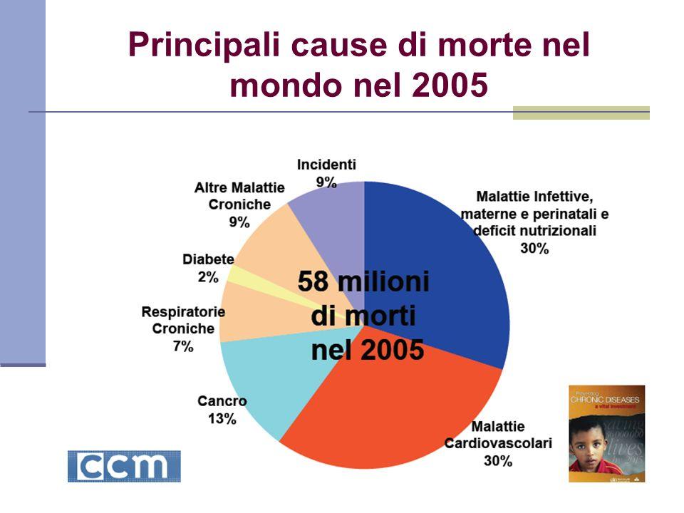Principali cause di morte nel mondo nel 2005
