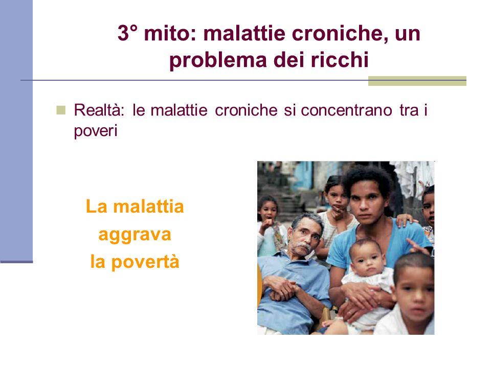 3° mito: malattie croniche, un problema dei ricchi Realtà: le malattie croniche si concentrano tra i poveri La malattia aggrava la povertà