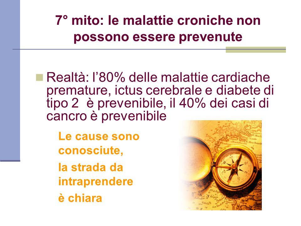 7° mito: le malattie croniche non possono essere prevenute Realtà: l80% delle malattie cardiache premature, ictus cerebrale e diabete di tipo 2 è prev